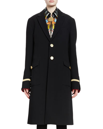 Two-Button Long Military Coat, Black