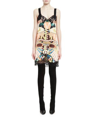 Sleeveless Lace-Trim Printed Slip Dress, Multi Colors