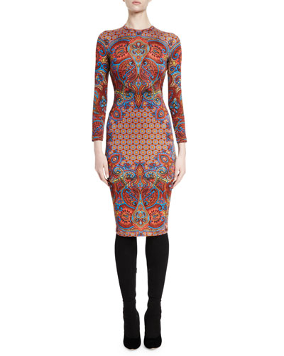Long-Sleeve Printed Sheath Dress, Red/Multi