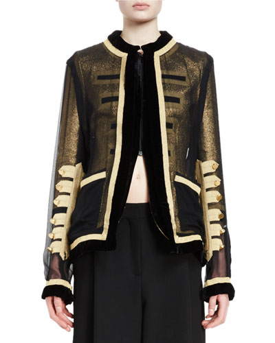 Zip-Front Chiffon Jacket, Black/Gold