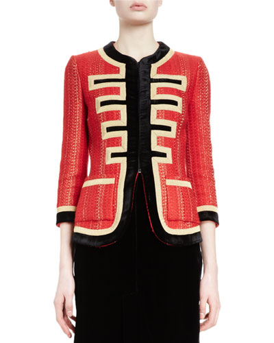 3/4-Sleeve Metallic-Striped Military Jacket, Red/Gold