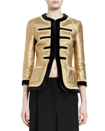 3/4-Sleeve Metallic Military Jacket, Gold/Black