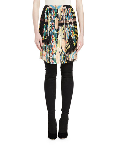 Crazy Cleopatra-Print Slim Skirt, Multi Colors