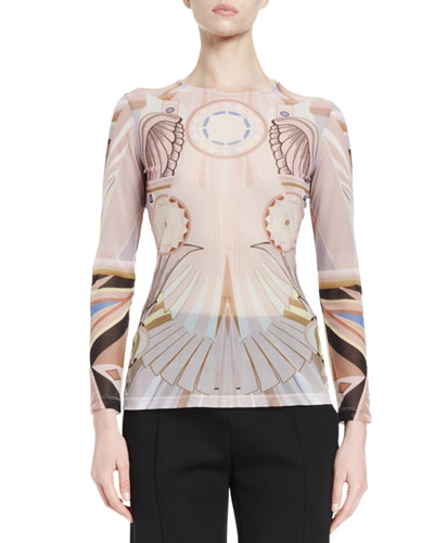 Stargate-Print Long-Sleeve Top, Pink/Multi