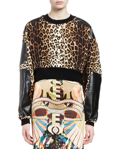 Leopard-Print Cropped Pullover, Multi Colors