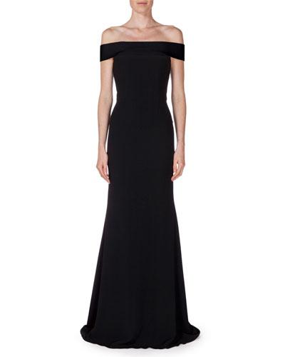 Lamble Off-The-Shoulder Gown, Black
