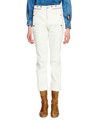 High-Waist Denim Biker Pants, Optic White