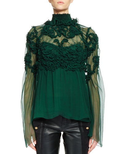 3D Floral-Embellished Blouse, Forest Green