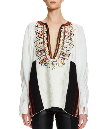 Split-Neck Hand-Embroidered Blouse, Vanilla