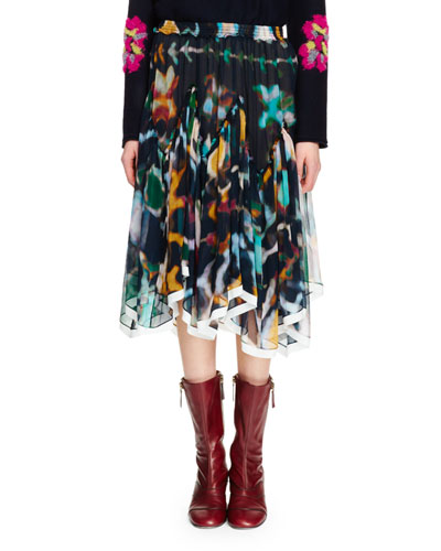 Asymmetric-Hem Inkblot Skirt, Multi Colors