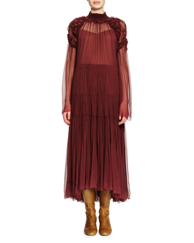 Long-Sleeve Ruched Tiered Maxi Dress, Plum