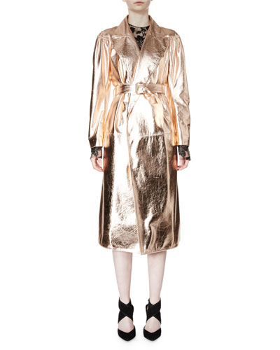 Belted Metallic Trenchcoat, Rose Gold