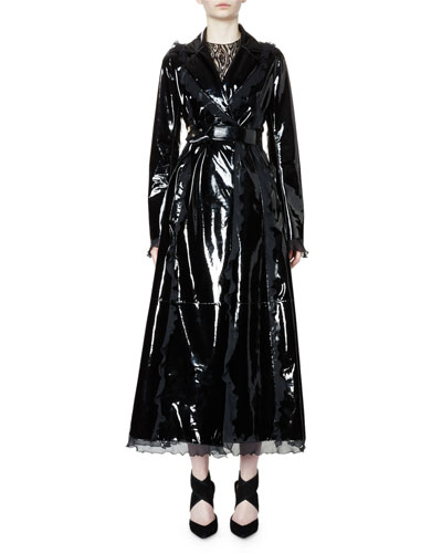 Belted Patent-Leather Trench Coat W/Ruffle Trim, Black