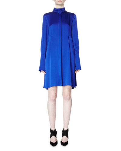 Long-Sleeve Band-Collar A-Line Dress