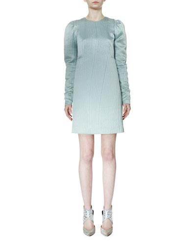 Long-Sleeve Degrade Slip Dress, Aqua
