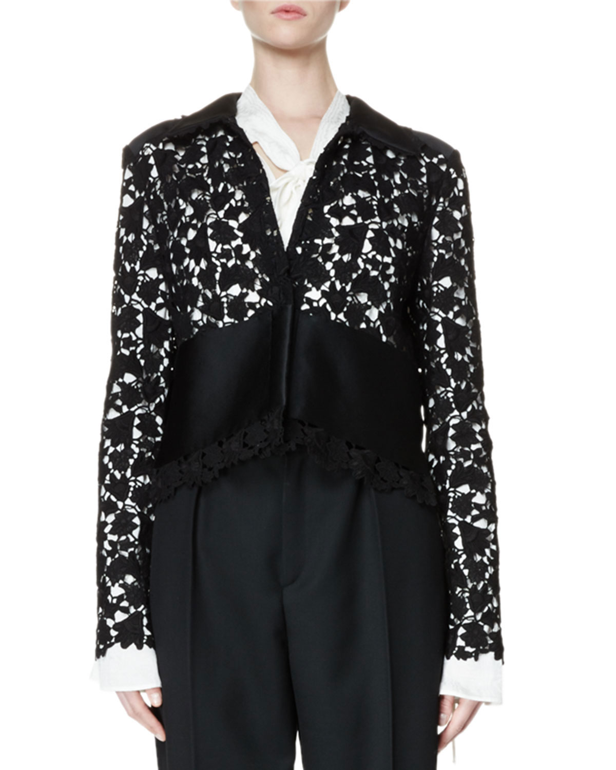Long-Sleeve Lace Jacket, Black
