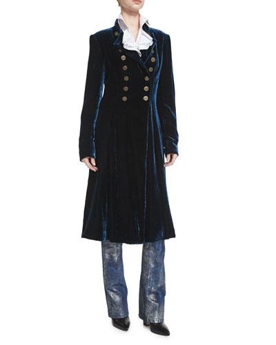 Benita Velvet A-Line Coat, Prussian Blue