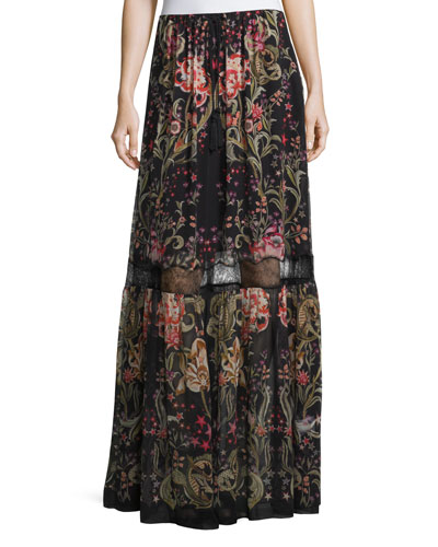 Galaxy Garden-Print Tiered Maxi Skirt, Red/Black