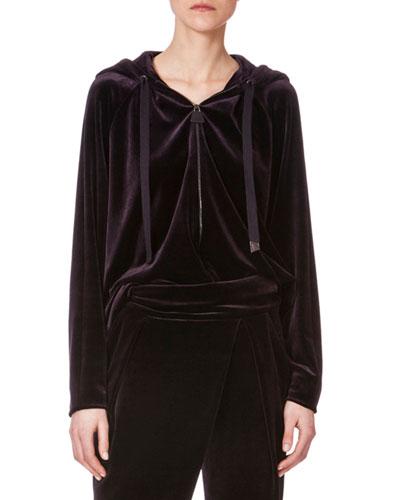 Zip-Front Hooded Velour Jacket, Aubergine