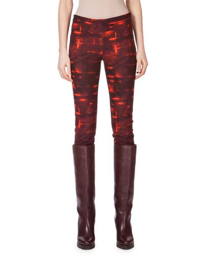 Mid-Rise Printed Skinny Pants, Mangosteen