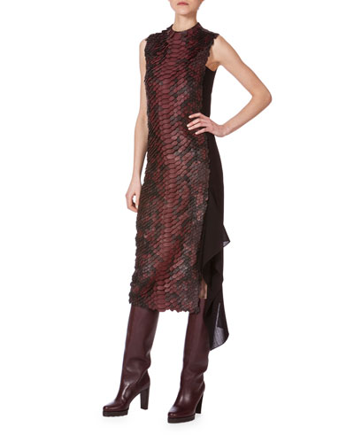 Sleeveless Leather-Embellished Combo Dress, Aubergine