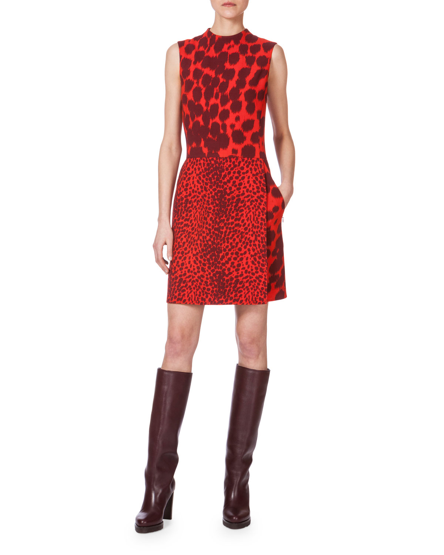 Double-Face Multi Animal-Print Sleeveless Dress