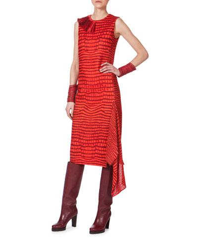 Sleeveless Printed Asymmetric-Panel Dress, Red