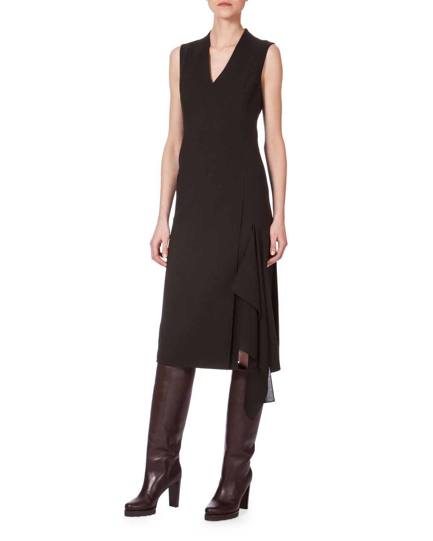 Sleeveless Faux-Wrap Dress, Date