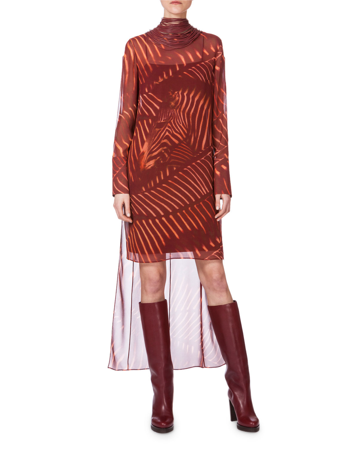 Long-Sleeve Zebra-Print Tunic Dress, Mangosteen