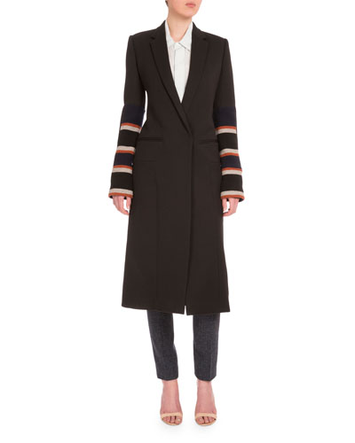 One-Button Long Tuxedo Coat, Multi Colors