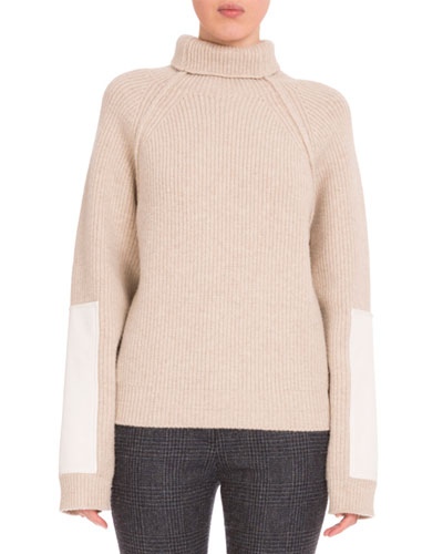 Turtleneck Sweater W/Contrast Patches, Cream