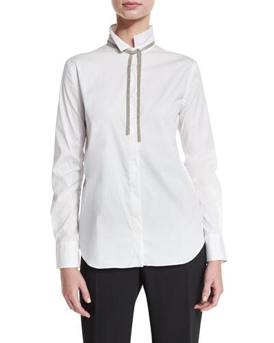 Monili-Tie Long-Sleeve Poplin Blouse, White