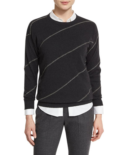 Monili-Stripe Drop-Shoulder Sweater, Onyx