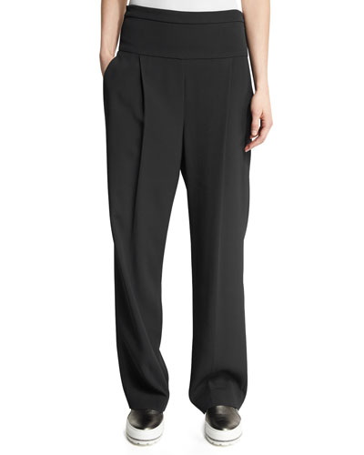 Pleated High-Waist Wide-Leg Pants, Onyx