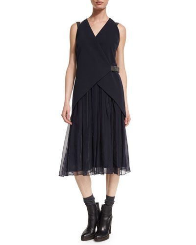 Cutaway-Gilet Monili-Trim Dress, Navy
