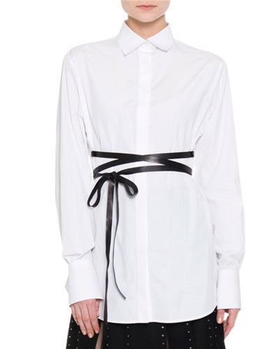 Hidden-Placket Wrap-Belt Tunic, White