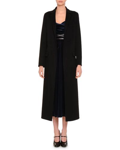 Notch-Lapel Duster Coat, Black