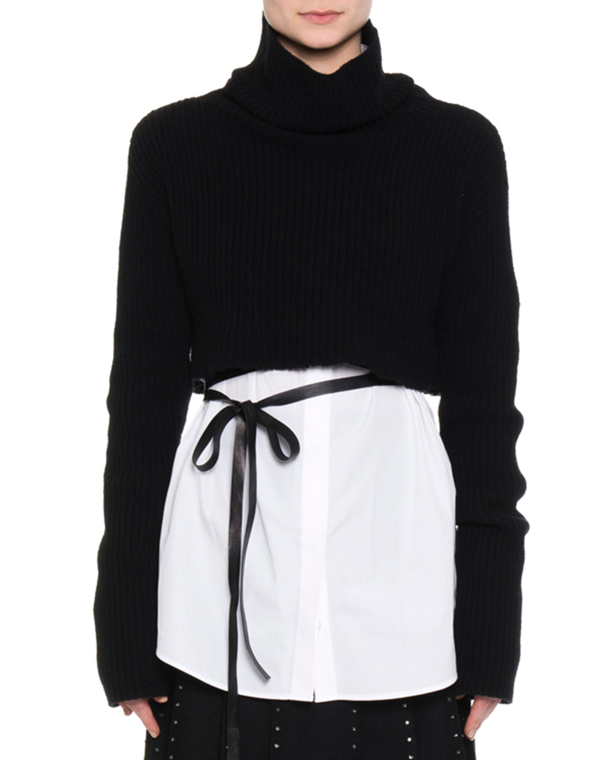 Trumpet-Sleeve Cropped Sweater, Black