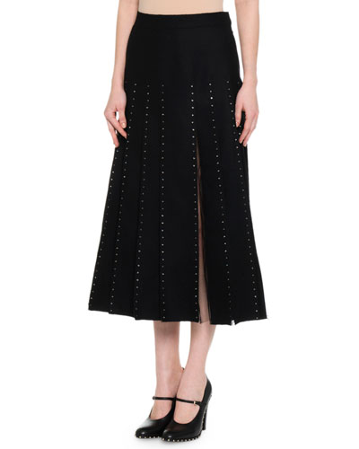 Calf-Length Pleated Skirt w/ Crystal-Edge Tulle Inserts, Black