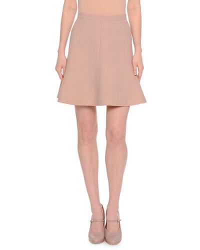 Short Fluted-Hem Skirt, Skin