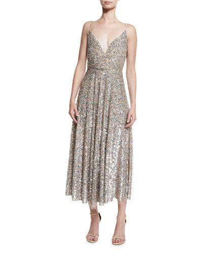 Sequined Wrap-Bodice Slip Dress, Praline