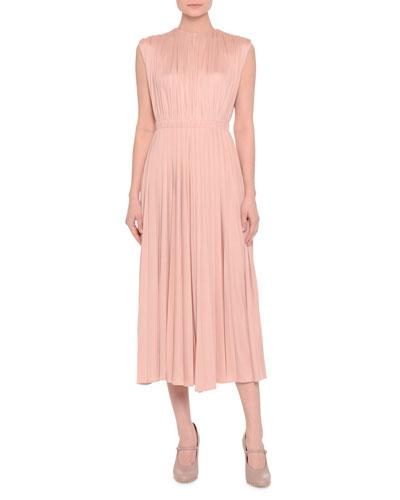 Sleeveless Jewel-Neck Shirred Midi Dress, Rose