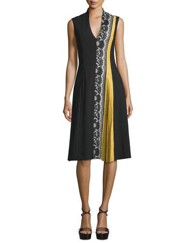 Sleeveless V-Neck Lace-Inset Dress, Black/Ivory/Yellow