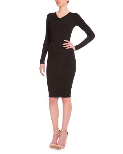 Long-Sleeve Ribbed Sheath Dress, Black