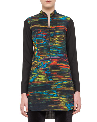 Printed Half-Zip Tunic, Northern Lights