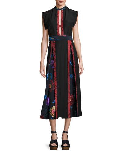 Python & Floral Printed Dress