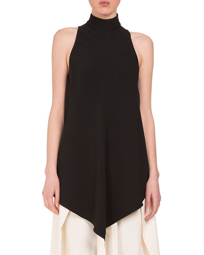Turtleneck High-Low Swing Blouse, Black