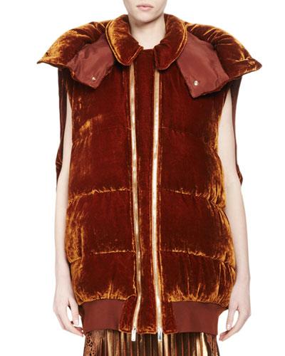 Melissa Long Quilted Velvet Vest, Sienna