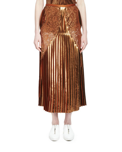 Gianna Metallic Pleated Lace-Trim Skirt, Sienna