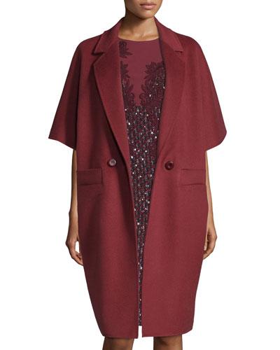 Double-Breasted Kimono-Sleeve Cocoon Coat, Marsala